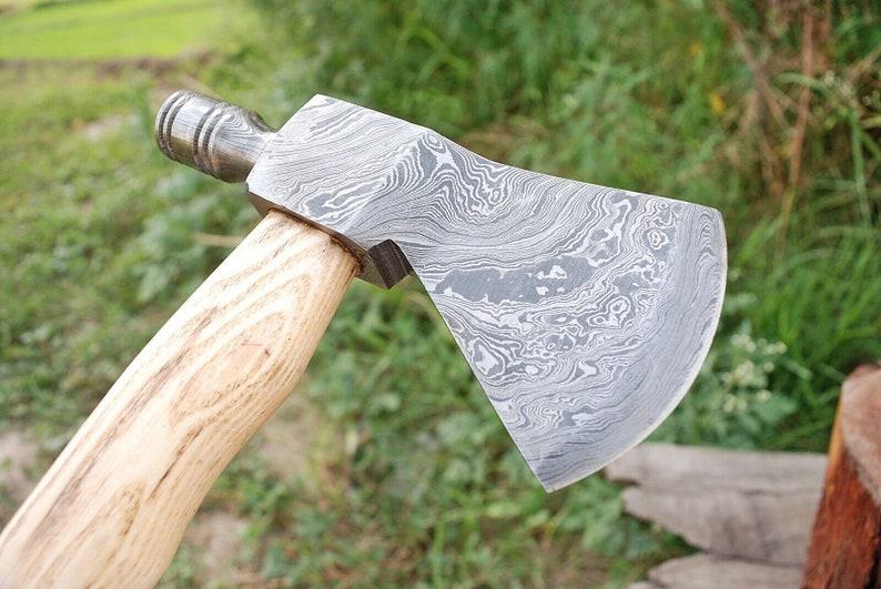 INTEGRAL AXE Hand Forged Damascus Steel Tomahawk Pipe Sheath Hatchet