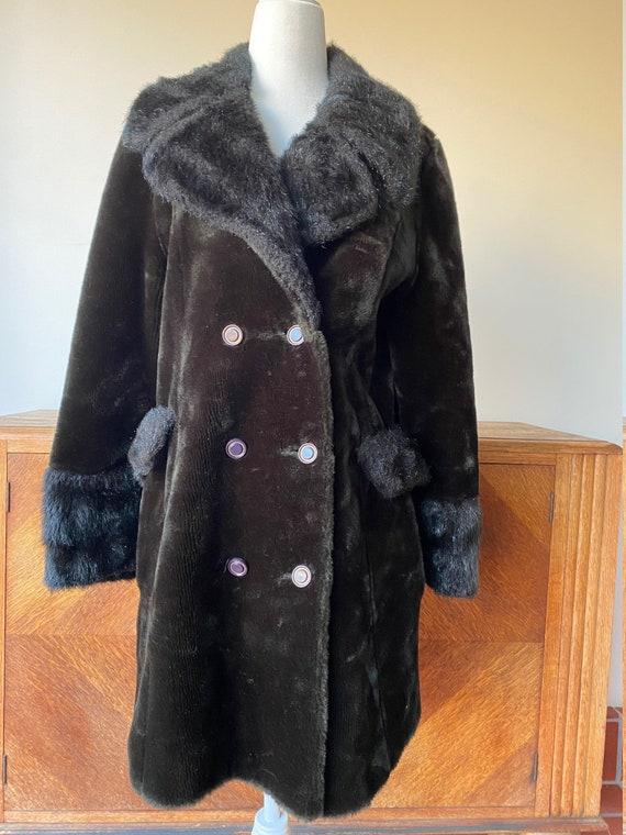 Vintage Dark Brown Faux Fur Winter Jacket 60s
