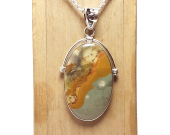 925 Sterling Silver PENDANT 2.35 Silver Bezel Set Fancy Pendant Gift For Her Natural BOTSWANA AGATE Gemstone Round Cabochon Drop Pendant