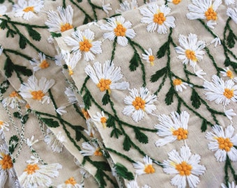 White daisy style fabric, embroidered daisy style fabric, cotton linen fabric,DIY fabric, by the yard