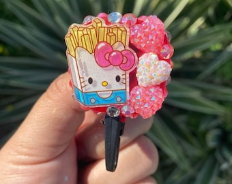 """1.9/"""" Retractable Reel ID Badge Holder/_Pink Flower Bow Details about  /Black Hello Kitty 45mm"""