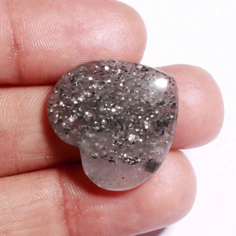 100/% Natural and Gorgeous Black SunStone Designer Sunstone Loose Gemstone Shine Heart Shape jewelry Making Gemstone 24x23x5 20 Ct