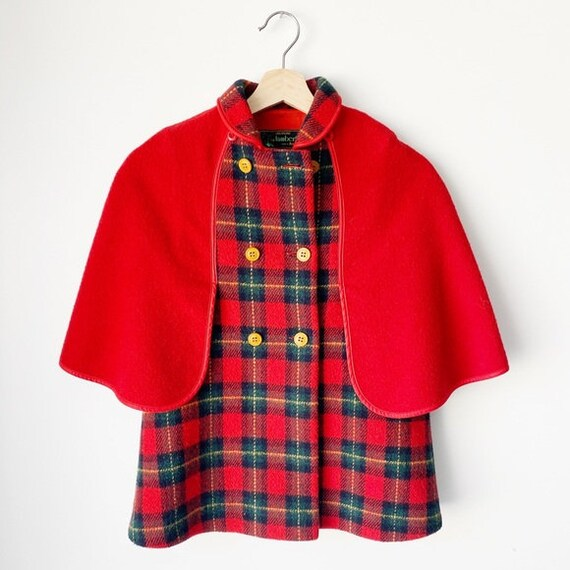 Vintage Girls Wool Red Plaid Cape Coat Italy