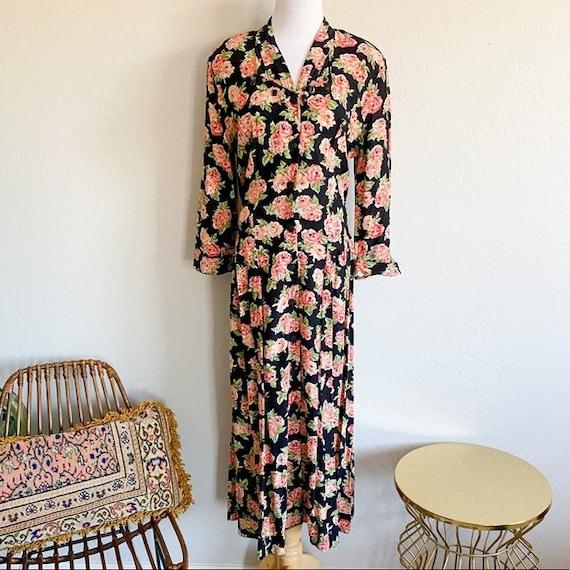 80s Vintage Carole Little Button Up Maxi Dress