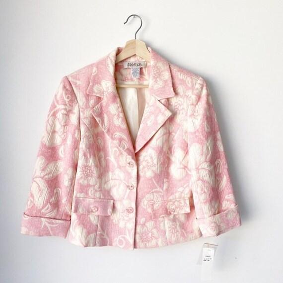 Vintage Harve Bernard Pink Floral Brocade Blazer N