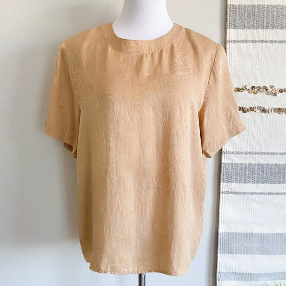 Vintage Anna and Frank Beige Paisley Silk Blouse