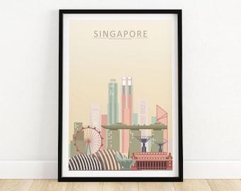 Singapore Skyline Print | Wall Art Poster | Asian Cityscape Home Decor | Framed & Unframed Singapore Gift Idea