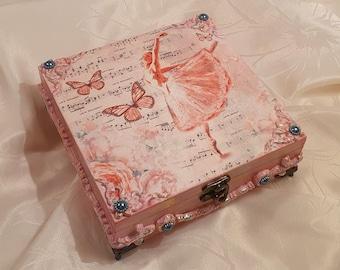 Wooden box with ballerina motif, jewelry box, storage box
