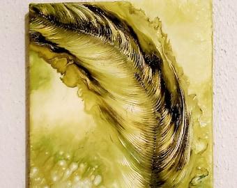 Green flutter feather 8x10