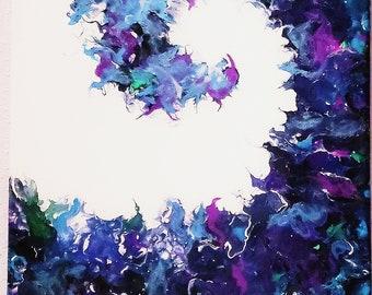 Wave, blue green purple 12x12