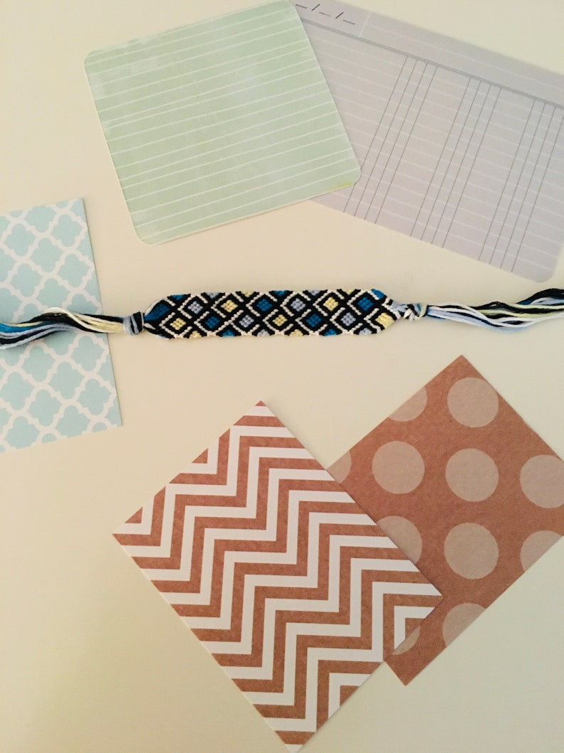 Blue and yellow checkers friendship bracelet