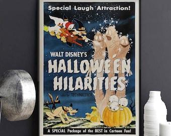 Disney Halloween Hilarities Poster, Special Laugh Attraction, Donald Duck Print, Fall Decor, Disney Halloween Wall Decor, Halloween Wall Art