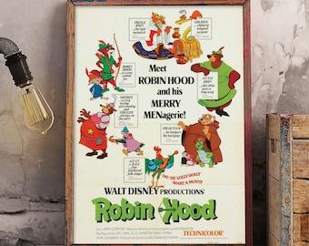 Disney Robin Hood Poster, Merry Menagerie Poster, Vintage Disney Wall Art Print, Robin Hood Disney Movie Poster, Vintage Disney World Poster