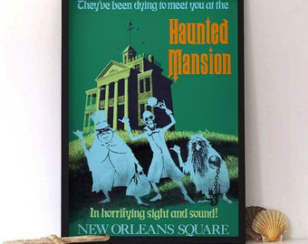 Vintage Disneyland Haunted Mansion Attraction Poster, Disneyland Print, Haunted House Decor, Halloween Poster, Ghosts Art Print, Retro Print