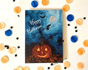 Happy Halloween - Grußkarten - Einladungskarten - Halloweenparty - Klimaneutraler Druck - Kunstdruck - Aquarell - Auch als Set erhältlich