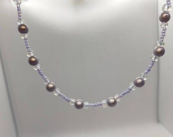 Lilac purple miracle luster disco beaded necklace