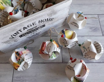 Paper decoration, Christmas ball, recycled paper