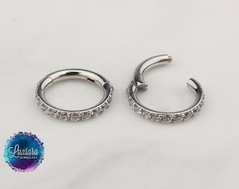 Cartilage Ring Daith Piercings Implant Grade Titanium 18g and 16g Hinged Hoop with Front FACING Cubic ZirconiaHinged Hoop Septum Ring
