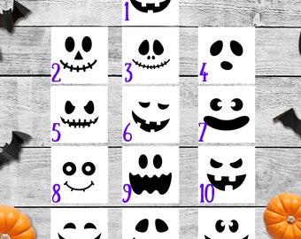 Single Decal, Pumpkin Faces, Halloween, Jack O Lantern, Halloween Decal, Vinyl Decal, Halloween Faces, Decorate a Pumpkin, Pumpkin Decor