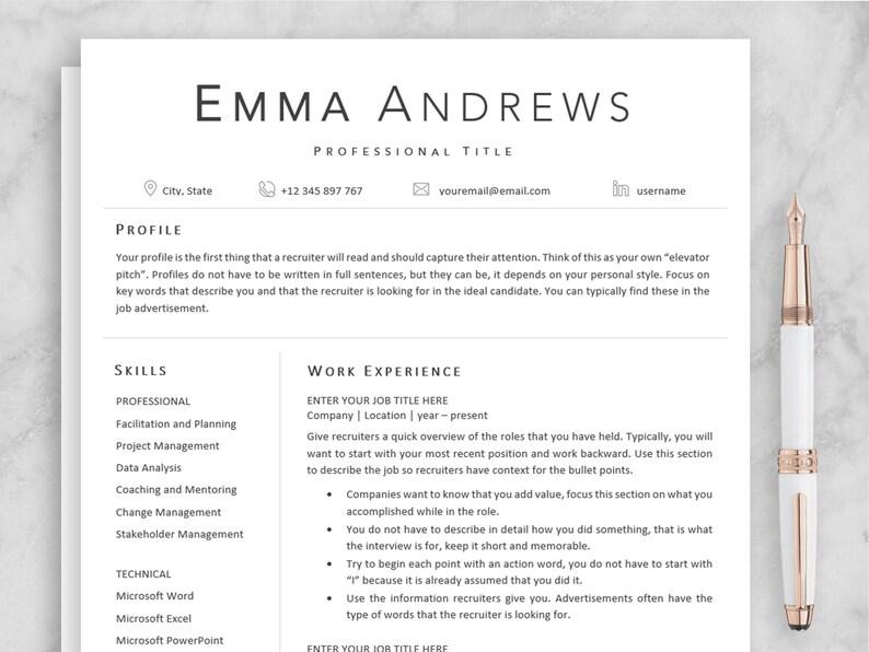 Resume Template Elegant Resume Professional Resume CV Template References Modern Resume Simple Resume Minimalist Resume Clean Resume