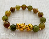 PiXiu Jade Stone Attract Wealth Good Luck Feng Shui Bracelet