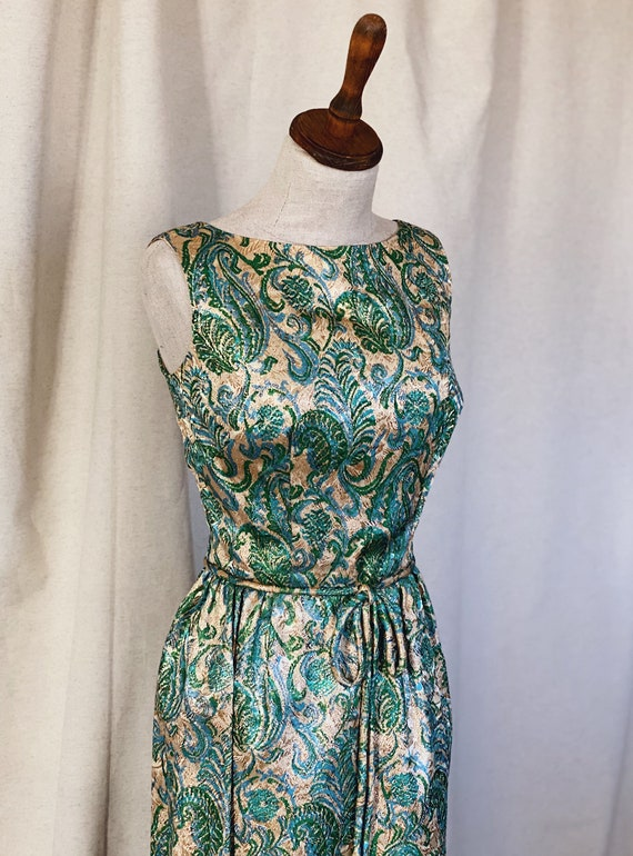 Vintage Brocade Maxi Dress from 1960s