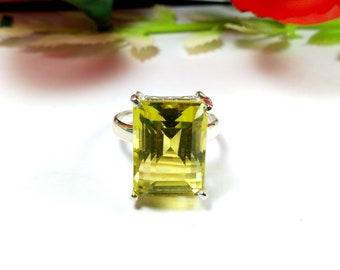 Lemon Quartz Rings Sterling Silver Lemon Quartz Ring for Sale Lemon Quartz Ring Jewellery,Gemstone Ring,Yellow Quartz Ring Diamond Cut R-082