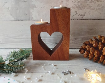 Mahogany Heart tealight holder, Heart candle holder, Housewarming, New Home present, 5th Wedding Anniversary, Gift for couples, Gift parents