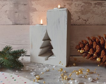 Christmas Tree Wood Tea Light, Rustic Xmas Tree, White Tealight Tree, 1st Christmas New Home Gift, Shabby Chic Christmas Tree Candle Holder