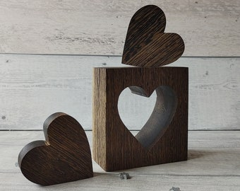 Freestanding Hearts, Set of 3 Heart Ornaments, Wooden Hearts, Wood Bedroom Decor, Wood Heart Ornaments, 5th Wedding Anniversary Gift