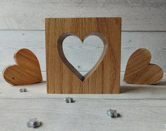 5th Wedding Anniversary Gift, Freestanding Hearts, Set of 3 Heart Ornaments, Wooden Hearts, Wood Bedroom Decor, Wood Heart Ornaments