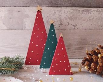 Wooden Christmas Tree set, Polka Dot Xmas Decor,  Christmas Trends 2021, Couples Xmas Gift, 1st House Christmas Gift, Wood Xmas Trees