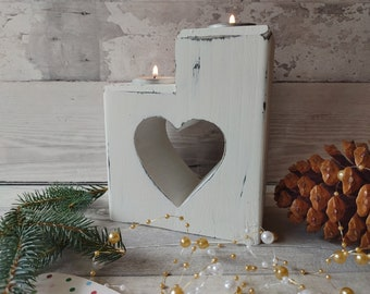 Christmas Heart Tealight Holder, Wooden Heart Candle Holder, Wedding Gift, 5th Anniversary Wood, Shabby Chic Tealight, Heart Tealight