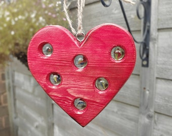 Wooden Heart Sun catcher, Wooden Heart, Garden Heart, Suncatcher, Wooden Suncatcher, Marble Sun Catcher, Garden Ornament