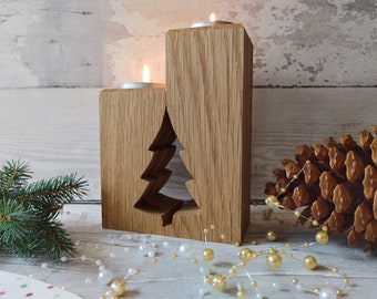 Christmas Tree Wood Tea Light, Oak Xmas Tree, Tealight Tree, 1st Christmas New Home Gift, Traditional Christmas Tree Candle Holder