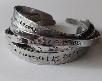 Personalised bangle, Secret message cuff bracelet, Hand stamped Cuff, Personalised Bracelet, Gift for friends, Motivational Jewellery