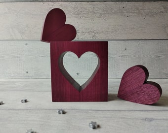Purple Wooden Heart, Set of 3 Heart Ornaments, Freestanding Heart Decor, Purple Bedroom Decor, Purple Ornaments, Purple Home Decor