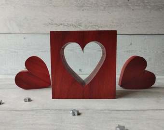Red Wooden Heart, Set of 3 Heart Ornaments, Freestanding Heart Decor, Red Bedroom Decor, Red Ornaments, Red Hearts, Wedding Gift