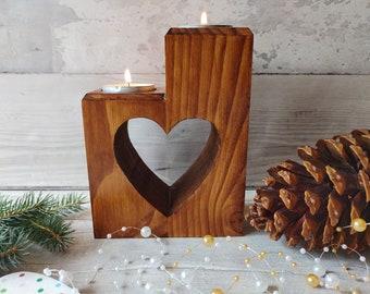 Christmas Heart Tealight Holder, Wooden Heart Candle Holder, Wedding Gift, Rustic Christmas Decor, Shabby Chic Tealight, Heart Tealight