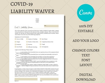 Covid-19 Liability Waiver & Statement of Consent, Editable Beauty Form Template, Day Spa Forms, Beautician Templates, Skincare Form Template