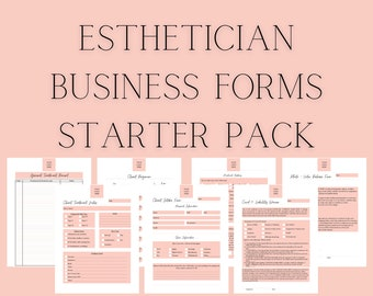 Esthetician Business Forms Starter Pack, Facial Intake Form, Client Skincare Regimen, Treatment Notes, Covid-19 Waiver, Record, and Release