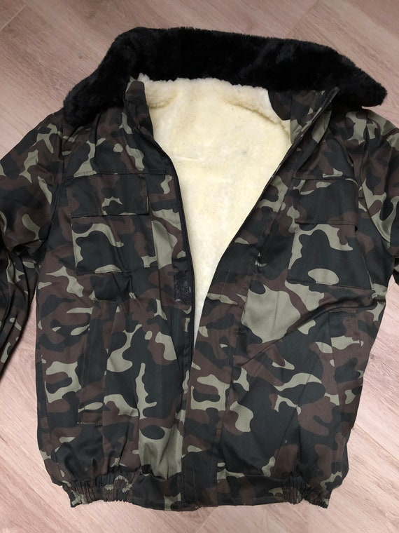 Military winter sheepskin coat, camouflage winter