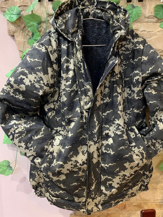 Military Winter Pea Jacket with a hood , Camouflag