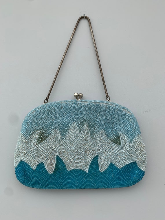 Gorgeous blue beaded purse from 1930s or before