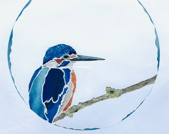 Paper cut Kingfisher with collage