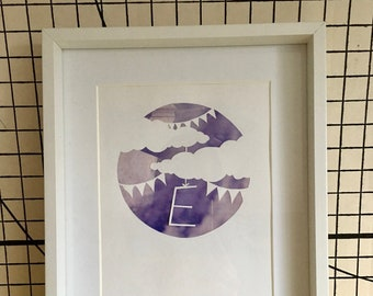 Paper cut new baby picture (first initial)