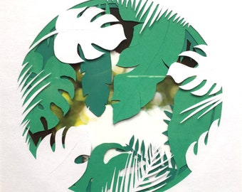 Framed paper cut leaves