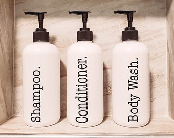 16 Oz White Farmhouse Bathroom Bottles, SHIPPED FREE  day you ORDER!   Durable Plastic Shower Bottles, Waterproof Label,Farmhouse Decor