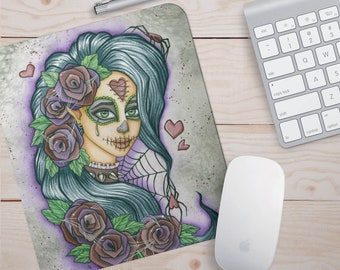Goth Girl Mousepad  Fantasy Art Mousepad  Charity Dauenhauer   Spider Mousepad Sugar Skull Mousepad  Day of the Dead Gifts Spider art