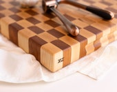 maple & cherry checkered end grain cutting board XLI